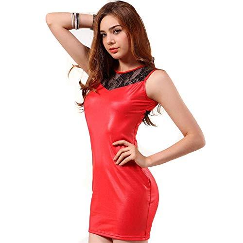 Erotische Sexy Dessous Sommer Sexy Frauen Pu-Leder Kleid Kurzarm Bodycon Midi Büro Kleid Schwarz Sexy Club Bleistift Party Kleider Vestidos XXL-Red_S