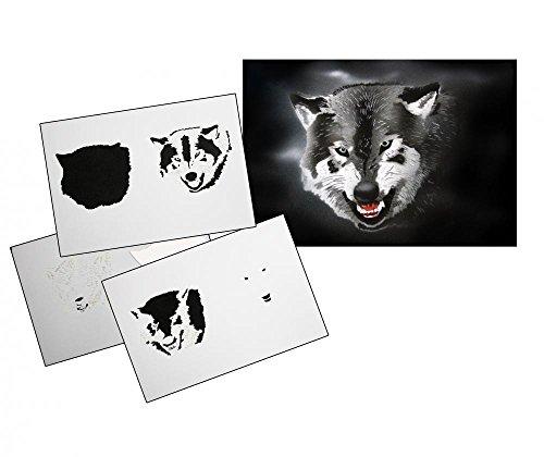 UMR-Design AS-113 Wolfskopf Airbrushschablone Step by Step Grösse L