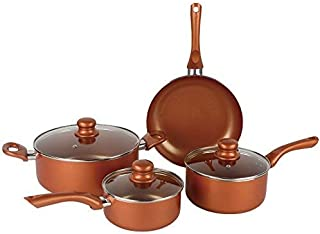 #1 Copper Cookware Set 7-piece Nonstick Ceramic Coating PTFE PFOA Free Aluminum Pots and Pan Set