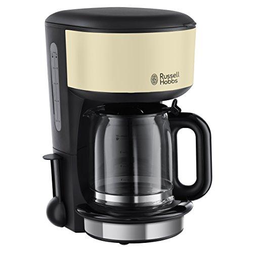 Russell Hobbs Szklany ekspres do kawy Colours Plus+ Classic Cream, 1,25 l, technologia głowicy prysznicowej, dzbanek szklany, 1000 W, 20135-56, kremowy
