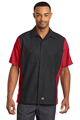 Red Kap Short Sleeve Ripstop Crew Shirt SY20 -Black/ Red XL