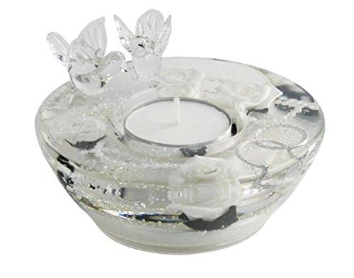 GILDE Traumlicht Dreamlight UFO Mini Podium Smart mit Vögeln Light White - Teelichthalter Dekoration Hochzeit