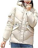GOERTPO Womens Fashion Loose Outerwear Short Cotton-Padded Jackets Pocket Hooded Coats