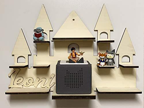DIY Regal Schloss für die Musikbox passend für Toniebox Kinder Baby Zimmer zum selbst bemalen mit Wunschname tolles individuelles Geschenk Geburtstag