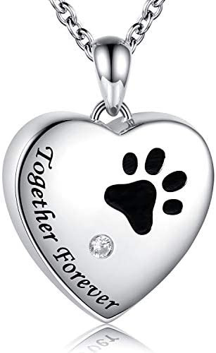 Puppy Sterling Silver Urn Memorial Necklaces for Dog Ashes Forever Together Paw Print Cremation product image