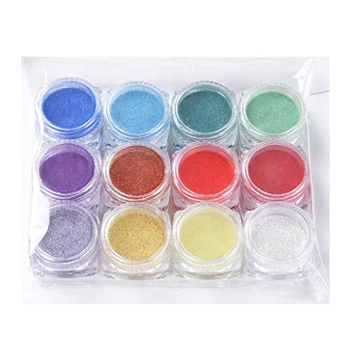 12 Colors Mica Powder Dye for Resin Jewelry DIY Crafts Art Making Epoxy Resin Dye Powdered Pigments Pearl Powder Colourant for UV Resin Colouring