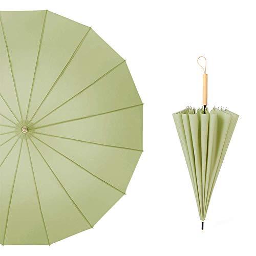 Zairmb Kleine frische Retro Dual Use Langen Griff gerader Regenschirm kompakte schnell trocknende Stoff Reisen Regenschirm manuelle Flache Taschenschirm-105cm Matcha