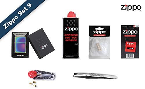 Zippo Set 9, Zippo Feuerzeug Spectrum (ICY, Regenbogen)+ Benzin, Feuersteine, Docht, Watte, und Pinzette