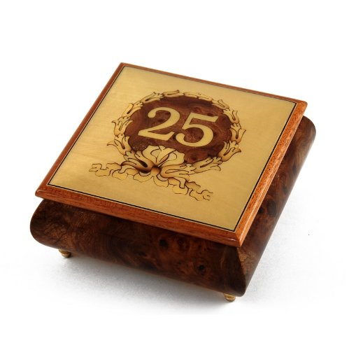 Handcrafted 25th Anniversary or Birthday with Ornament Frame Musical Jewelry Box - Blowing in the Wind (Bob Dylan)
