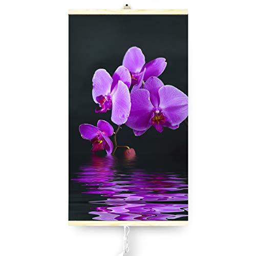 Trio Infrarotheizung Thermostat Bildheizung Heizpaneel Infrarot Heizkörper 430W Elektro mit Motiv Orchidee 100x57cm