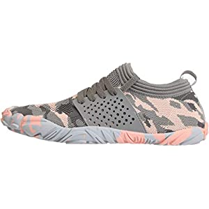 JOOMRA Womens Trail Running Minimalist Barefoot Shoes Athletic Wide Width Toes Box Gym Trekking Toes Ladies Hiking Barefoot Sock Sneakers Grey Pink Size 7