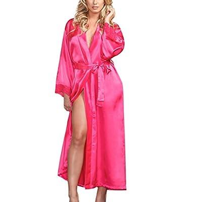 Women Sexy Long Silk Kimono Dressing Gown Babydoll Lace Lingerie Bath Robe