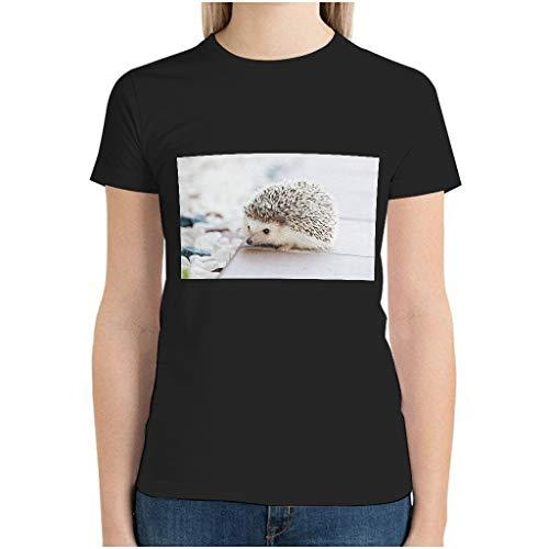 Frauen Baumwolle Mini Igel T-Shirt Tie-Dye - Kurzarmhemd Black 3XL