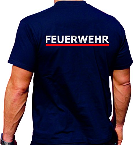 Feuer1 T-shirt Navy BaWü avec soulagement et camion de feu Argent/rouge L bleu marine