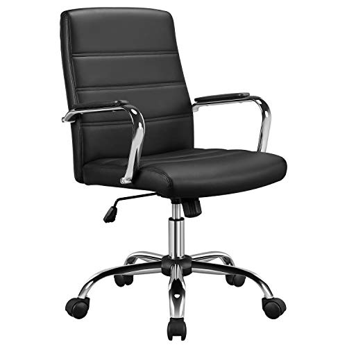Yaheetech Office Chairs, Leather Exectuive Chair Height Adjustable Managerial Desk Chair with Arms/Chrome Base, 360° Swivel Desk Chair, Black