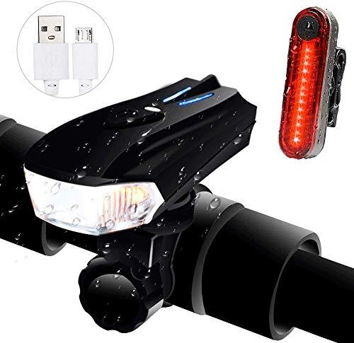 Ozvavzk Luci per Bicicletta USB Ricaricabili Luci Bicicletta 5 modalità Intelligente Luce Bici Anteriore e Posteriore LED Set per Autisti notturni Ciclismo e Campeggio.
