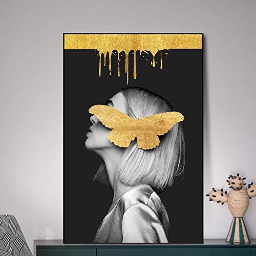 SADHAF Gouden Vlinder Canvas Schilderij Gedrukt Meisje Graffiti Muur Art Print Poster Home Decoratie Decoratie 50x70cm (no frame) A3