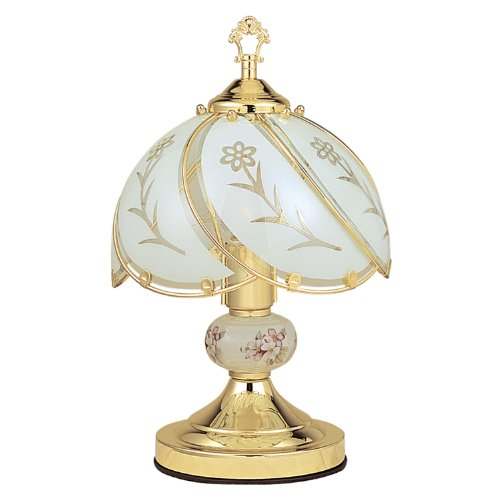 OK Lighting OK-606WG 14.25-Inch Touch Lamp with White Glass Floral Theme, Gold