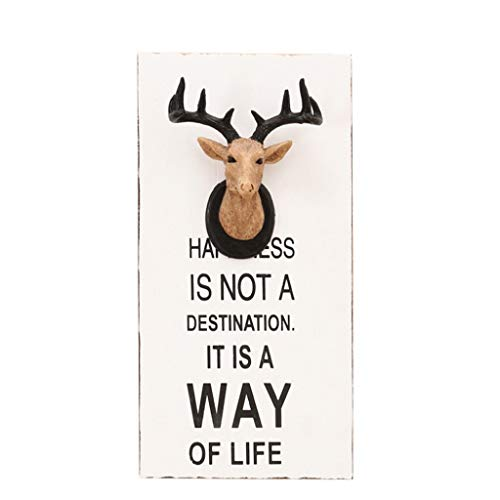 Tubayia 3D Stag Head Wall Plaque Wooden Wall Decoration for Home Restaurant Cafe Bar