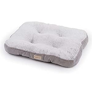 PoochPlanet LuxeSpot Crate Mat, Dog Bed, Cozy, Cushioned, Durable Plush, Soft, Tufted, Thick, 2-Tone Gray, Small (25×19)