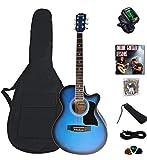 "electro electric acoustic guitar bundle beginner package Columbus 40"" Concert Cut away satin"