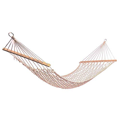 OH Hamocks Portable Outdoor Hammock White Mesh Cotton Rope Swing Hammock for Porch Beach Indoor Patio Relieve Fatigue Easy to Clean