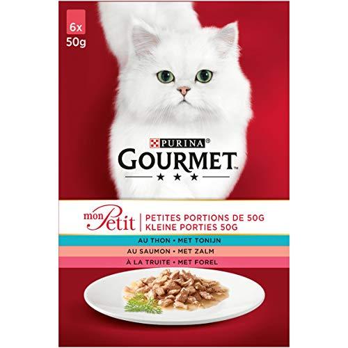Gourmet Mon Petit Vis Kattennatvoeding met Tonijn, Zalm, en Forel, 6 x 50g - doos van 4 (24 portiezakjes;1,2kg)