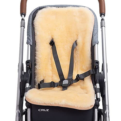 KZ Dotnz 100% Natural Lambskin Fur Baby Seat Liner Universal Fit Stroller, Car Seat, Available in All Seasons Soft and Fluffy Stroller Car Seat Liner Insert, Sheepskin Baby Seat Cushion Pad