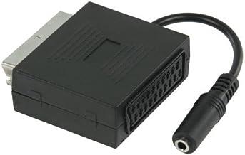 Euroconector con Jack Hembra de 3,5 mm (con función de Altavoz del TV, euroconector sin desconexión del Sonido estereofónico del TV, estéreo), Negro