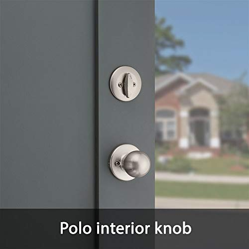 Kwikset 96870-099 Belleview Single Cylinder Front Door Handleset with Polo Door Knob Featuring SmartKey Security in Satin Nickel