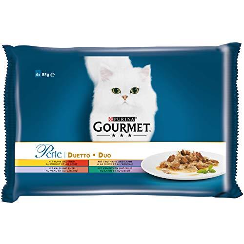 PURINA GOURMET Perle Duetto Katzenfutter nass, Sorten-Mix, 12er Pack (12 x 4 Beutel à 85g)