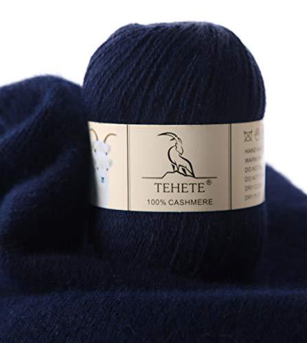 TEHETE Ovillo de lana, 100% Cachemira Hilo 50g, para manta, suéter calcetín, bufanda, diy, ganchillo y tejido(Azul marino)
