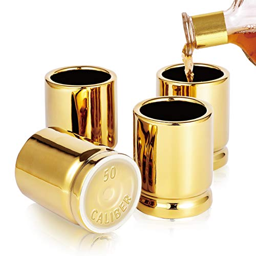 Yuwoda 50 Cal Bullet Gold Shot Glass - 2 Ounces Best Cool Shot Glasses Set, Man Cave Stuff, Perfect 21st Birthday Gifts for Him, Funny Gifts for men, Set Of 4 Shot Glasses