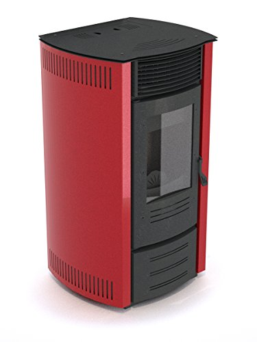EVA CALOR Stufa a Pellet Elisa Trend Potenza Termica 13.9 kW Colore Rosso