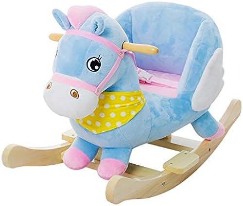 HUXIUPING Schaukelpferd Baby Spielzeug Schaukelpferd Dual-Use-Massivholz mit Musik Baby Schaukelstuhl 1-3 Jahre altes Geschenk