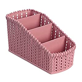 (1pcs) Rangement de paniers multi-organisateurs PP Panier de rangement en rotin rose Mini panier de rangement de bureau…