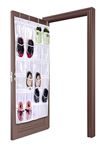 lebogner Over The Door Hanging Shoe Storage Organizer 24 Clear Reinforced Vinyl Pouches, Store Up to 12 Pairs of Shoes, White Space Saving Closet Accessories Organizer, Sturdy Shoe Organizer