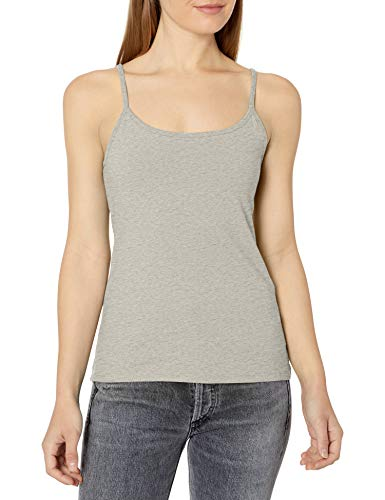 Hanes Women's Stretch Cotton Cami with Built-in Shelf Bra, Grey Heather, Medium