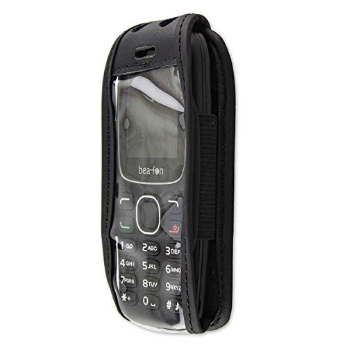 caseroxx Hülle Ledertasche mit Gürtelclip für Bea-fon C65 aus Echtleder, Tasche mit Gürtelclip & Sichtfenster in schwarz