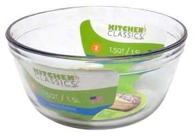 Kitchen Classics 195-81574LIB Mixing Bowl, Tempered Glass, 1.5-Qt. – Quantity 6