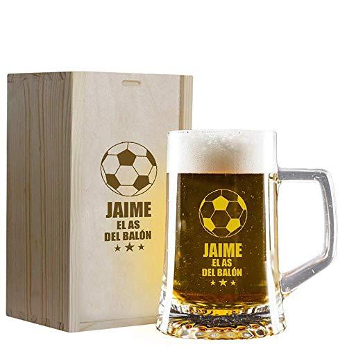 Calledelregalo Regalo Personalizado: Jarra de Cerveza 'El as del balón' grabada con su Nombre en Estuche de Madera también Grabado