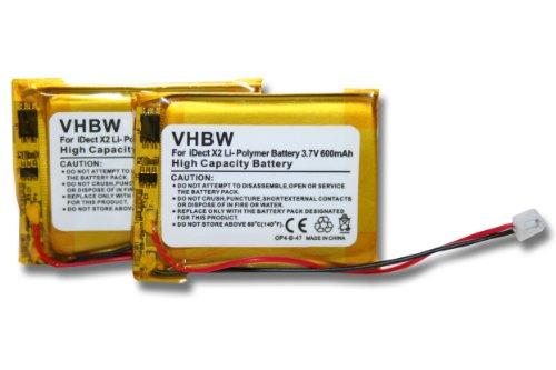 vhbw 2X Akku passend für iDect M1, M2, X2, X2d, X2di, X2i schnurlos Festnetz Handy (600mAh, 3,7V, Li-Polymer)