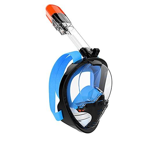 FJFW Máscara de Snorkel de Cara Completa con Soporte de Snorkeling Desmontable, Cristal Templado Anti-Niebla y diseño Plegable, Adecuado para Hombres Adultos y Mujeres na Black Blue-S/M