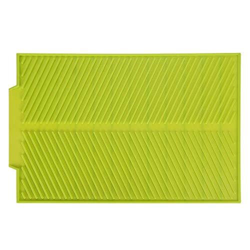 MAGT Mat Escurridor Universal, Rectángulo Silicona escurridor Estera de Fregadero de Cocina, Platos de Secado Heat Pad Bandeja Resistente a Prueba de Deslizamiento (Color : Verde)