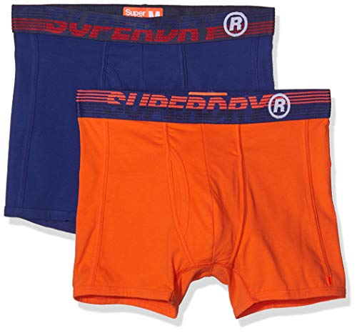 Superdry Herren Speed Sport Double Boxer Boxershorts, Mehrfarbig (Downhill Blue/Buck Orange T6H), Small