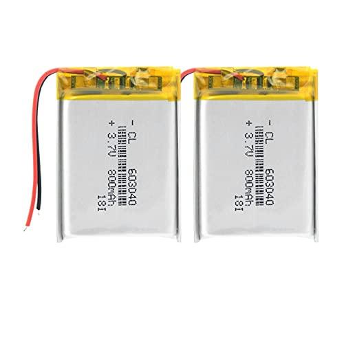 THENAGD Batería De PolíMero De Iones De Litio De 3.7v 800mah 603040, BateríAs De Litio Recargables De Lipo con Protección PCB 2pieces