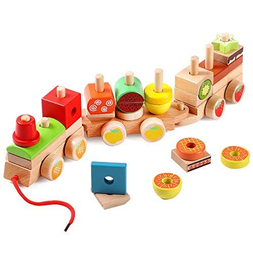 Lewo 2 in 1 Trek Speelgoed Houten Geometrische Stacker Speelgoed Trek Langs Trein Speelgoed Vroeg Educatief Speelgoed voor Peuter Kinderen Baby Jongen Meisje