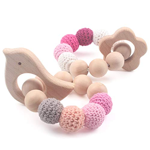 Baby Wooden Rattle Wood Teethers Set of 2 Beech Animal Crochet Beads Organic Waldorf Toys, Double Cord Connection