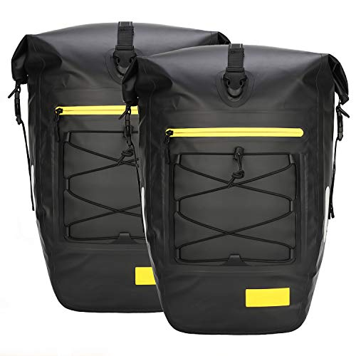 Gonex Bicycle Panniers Waterproof Bike Bag Pannier Rear Rack 27L for Cycling Bicycling Traveling Riding Black, 2 Packs