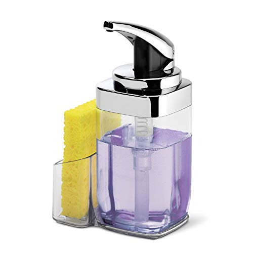 simplehuman 22 oz. Square Push Pump Soap Dispenser with Sponge Caddy, Chrome
